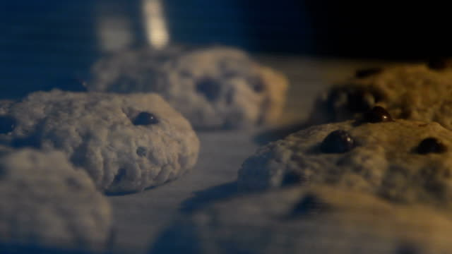 Homemade oatmeal cookies with chocolate drops baking in hot oven. Speed up video of a whole process.