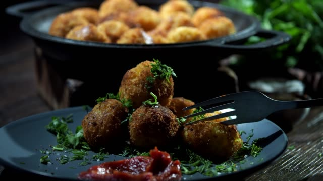 homemade potato croquettes - cheese ball stock videos and b-roll footage