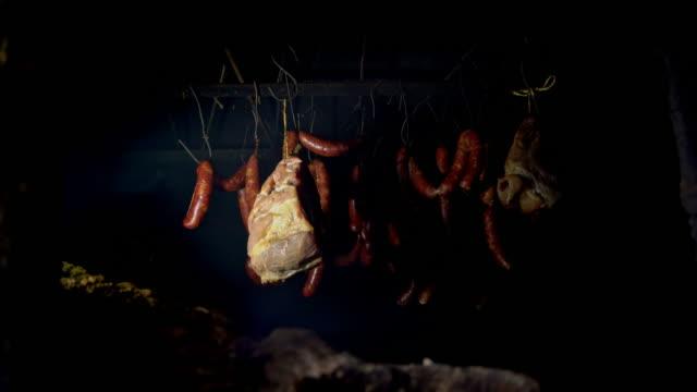 Homemade smoked pork meat