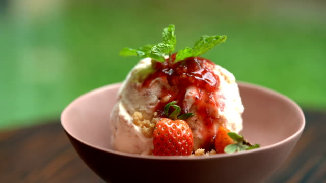 homemade strawberry cheese cake ice cream ready to eat - serving scoop stock videos & royalty-free footage