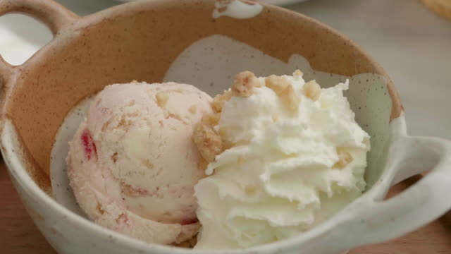 homemade strawberry ice cream on white marble table - gelato stock videos and b-roll footage