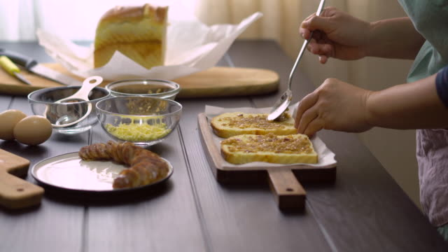 homemade toasted bread for breakfast - food styling stock videos & royalty-free footage