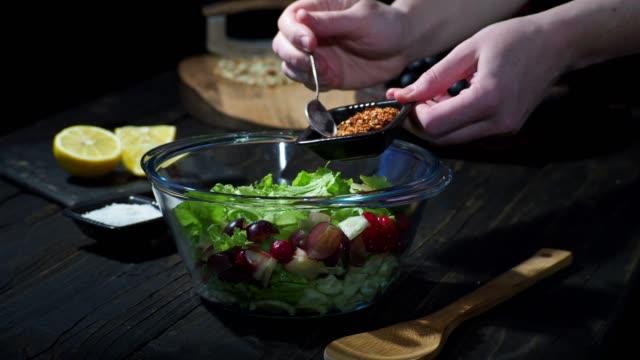 homemade waldorf salad - sprinkling stock videos & royalty-free footage