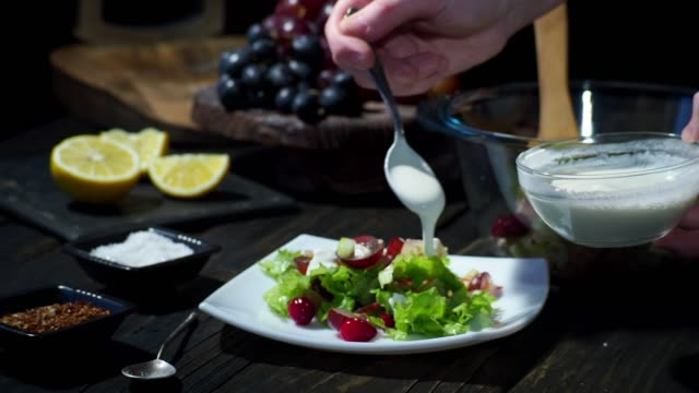 homemade waldorf salad - salad dressing stock videos & royalty-free footage