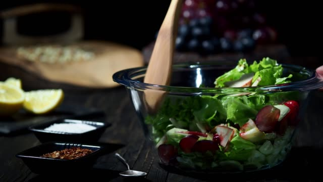 homemade waldorf salad - mixing stock videos & royalty-free footage