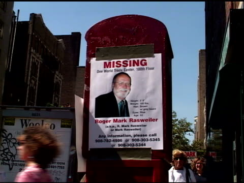 cu homemade wtc missing persons posters posted on streets salvation army logo on back of truck see shots 57 91 on this tape as well as shots 7 99 101... - missing poster stock videos & royalty-free footage