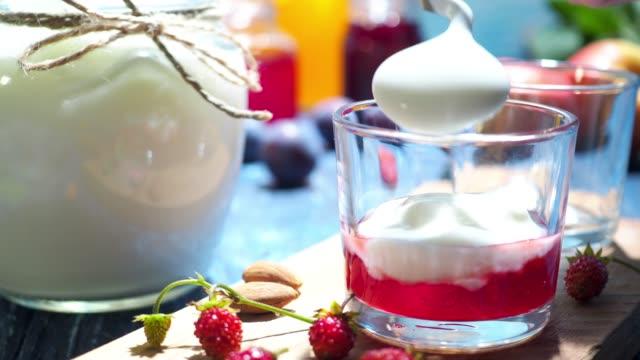 homemade yogurt - almond stock videos and b-roll footage