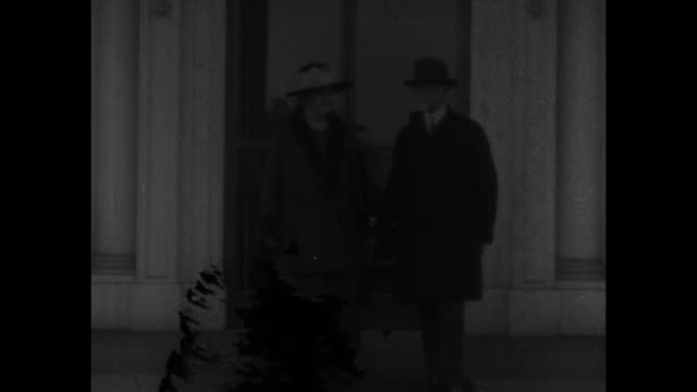 homeopathic physician charles sawyer and wife elizabeth at door of white house north portico / note exact day not known - homeopathic medicine stock videos and b-roll footage