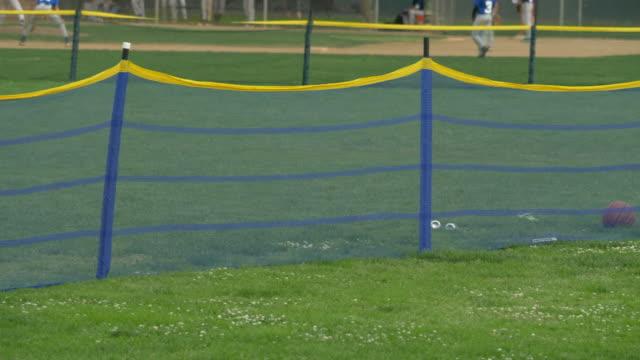 Homerun fence for softball and little league baseball. - Slow Motion