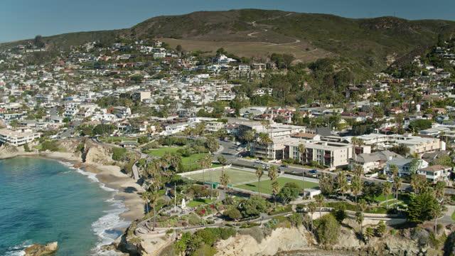 homes and parks in laguna beach, ca - drone shot - laguna beach california stock videos & royalty-free footage