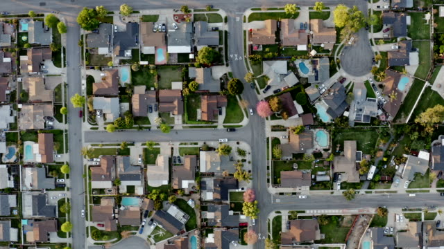 homes at night in orange county, california - overhead view stock videos & royalty-free footage
