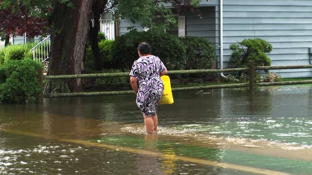 homes flooded by hurricane irene in new milford new jersey / woman walks through flood waters to reach her home / rabbit trapped at base of home... - hurricane irene stock videos & royalty-free footage