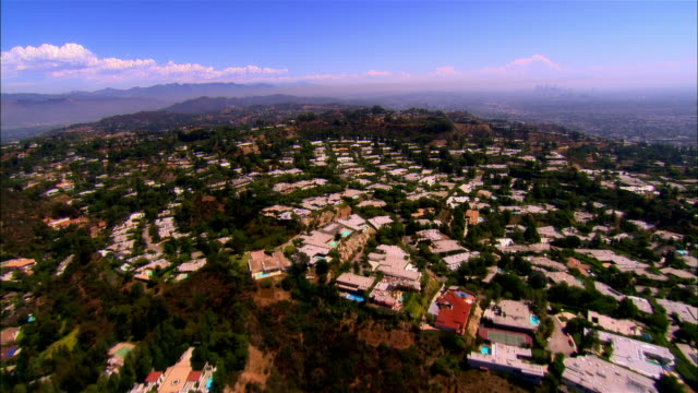 aerial homes in hollywood hills/ santa monica, calfornia  - santa monica house stock videos & royalty-free footage
