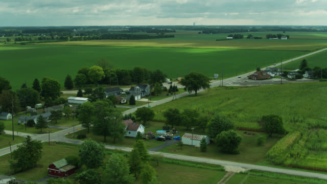 homes surrounded by farmland in genoa, ohio - aerial - town stock videos & royalty-free footage