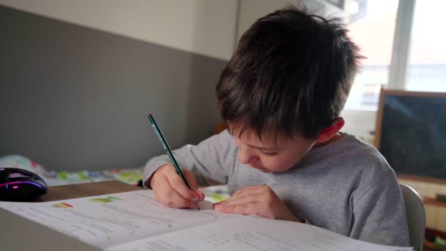 homeschooling - schulische prüfung stock-videos und b-roll-filmmaterial