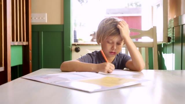homework - 8 9 anni video stock e b–roll