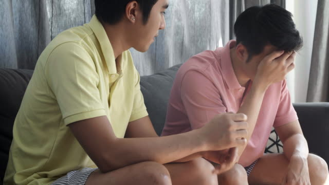 a homosexual couple having difficulties in relationship.stressful moments.lgbt concept. - grief stock videos & royalty-free footage