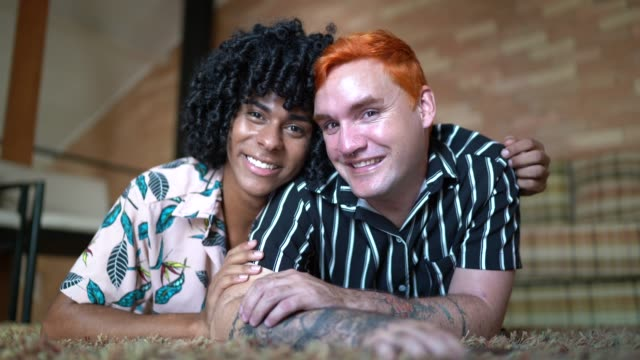 homosexual couple portrait at home - alternative lifestyle stock videos & royalty-free footage