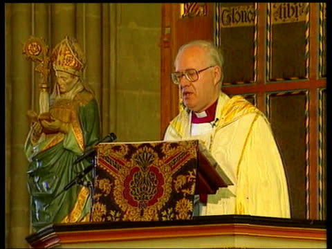homosexuality age of consent vote; lib canterbury cathedral: dr george carey preaching at pulpit as gay rights protesters including peter tatchell... - canterbury cathedral stock videos & royalty-free footage