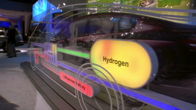cu, ds, honda fcx concept car display, north american international auto show, detroit - ホンダ点の映像素材/bロール