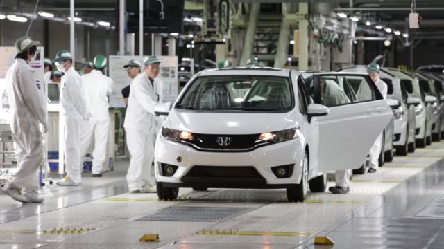 Honda Motor Co Fit vehicles go through the final inspection area on the production line of the companys Yorii plant in Yorii Town Saitama Prefecture...