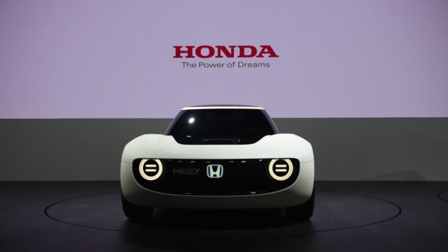 a honda motor co neuv concept vehicle stands on display at the tokyo motor show in tokyo japan on thursday oct 26 a honda motor co sports ev concept... - neu stock videos & royalty-free footage