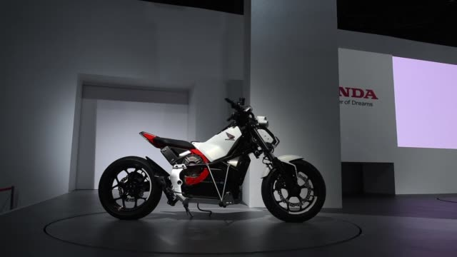 a honda motor co riding assiste motorcycle stands on display at the tokyo motor show in tokyo japan on wednesday oct 25 2017 - honda stock videos & royalty-free footage