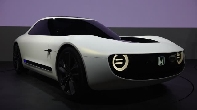 a honda motor co sports ev concept vehicle stands on display at the tokyo motor show in tokyo japan on wednesday oct 25 pan left to right interior... - honda stock videos & royalty-free footage