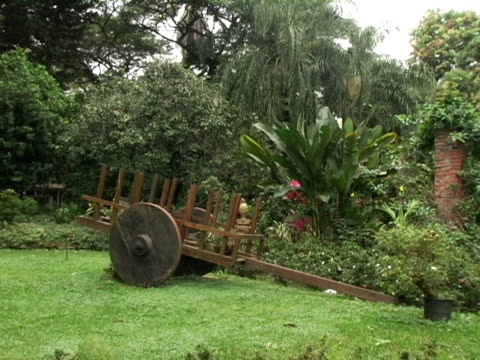 ms, honduras, decorated wagon in botanical garden - formal garden点の映像素材/bロール
