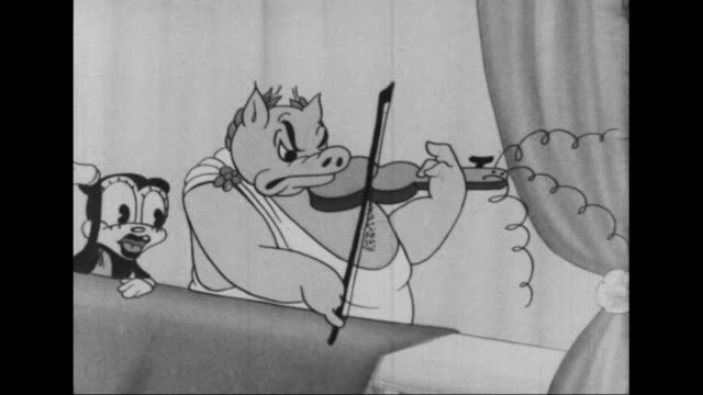 honey bear cheers as roman pig's violin falls apart - stringed instrument stock videos & royalty-free footage