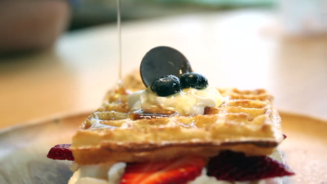honey waffle - waffles stock videos and b-roll footage