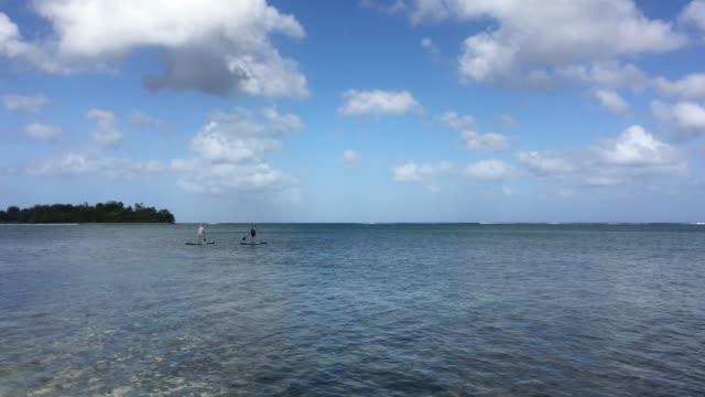 honeymoon couple on a pedal board paddle boarding in muri lagoon in rarotonga cook islands. - rarotonga stock videos & royalty-free footage