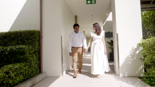 honeymoon time of couple walking - indian subcontinent ethnicity stock videos & royalty-free footage