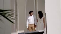 Honeymoon time of Couple walking
