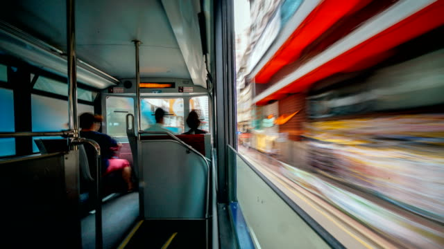 hong kong. 4k timelapse in a tram travelling across quarry bay, causeway bay, wan chai to admiralty - cable car stock videos & royalty-free footage