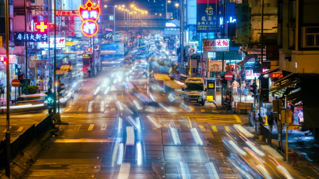 Hong Kong. 4K Timelapse of night traffic at Mong Kok, Kowloon