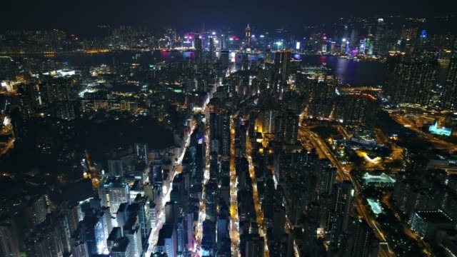 hong kong aerial view from kowloon side - night stock videos & royalty-free footage