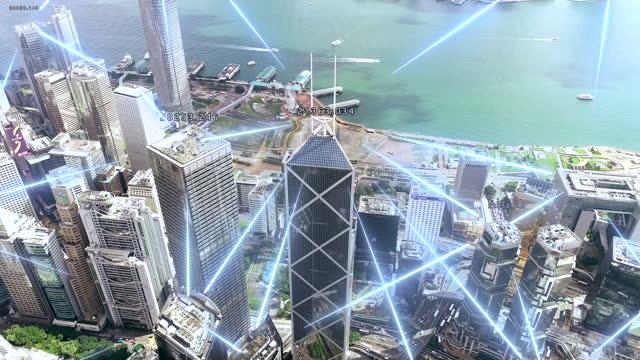 hong kong vista aerea al mattino, the tower con connessioni di rete della tecnologia di comunicazione. - luogo d'interesse video stock e b–roll