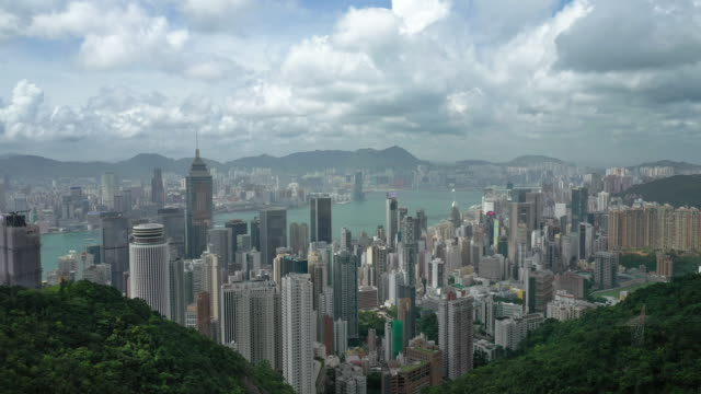 hong kong aerial view landscape in real time - victoria harbour hong kong stock videos & royalty-free footage