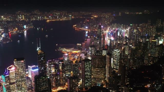 hong kong aerial view.aerial view of city at night - vista marina stock videos & royalty-free footage