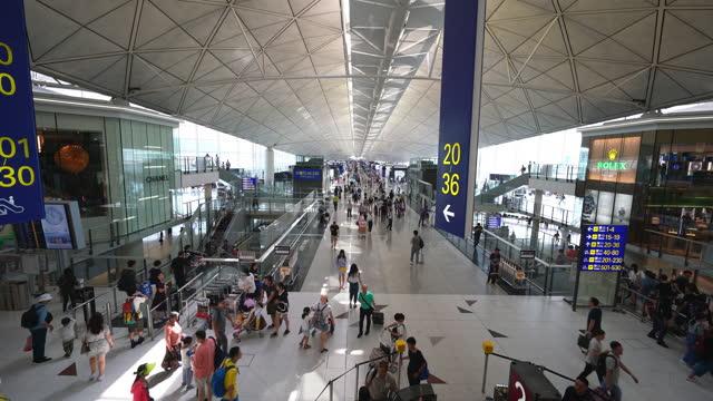 hong kong airport departure area - victoria hong kong stock videos & royalty-free footage