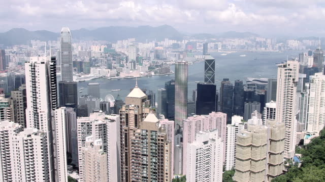 hong kong and kowloon skyscrapers - bank of china tower hong kong stock videos & royalty-free footage