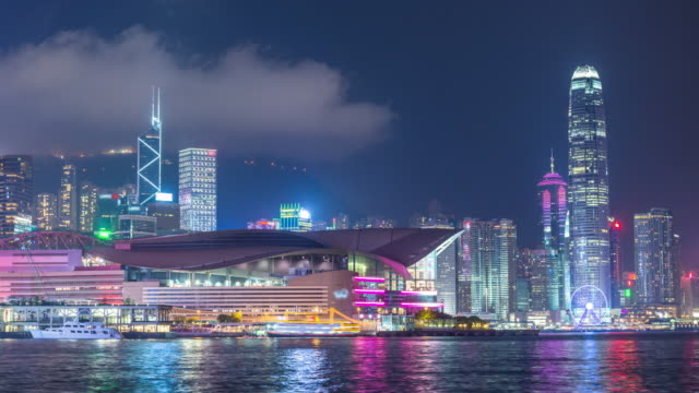 hong kong at night. timelapse - victoria harbour hong kong stock videos and b-roll footage