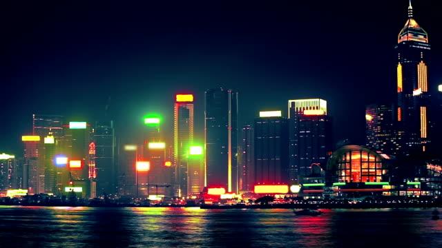 hong kong at night - showing stock videos & royalty-free footage