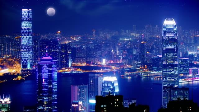 hong kong at night. - skyline stock videos & royalty-free footage