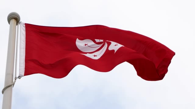 hong kong banner,china - hong kong flag stock videos & royalty-free footage