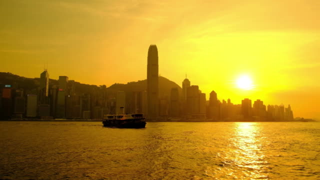 hong kong buildings at sunset - kowloon stock videos and b-roll footage