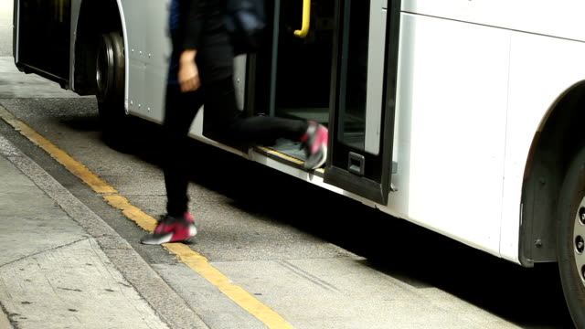 hong kong bus getting off - human foot stock videos & royalty-free footage