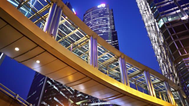 hong kong business downtown. bridge. financail building. hotel - footbridge stock videos & royalty-free footage