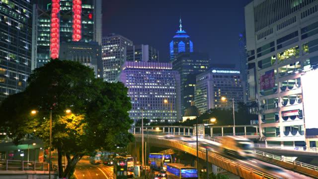 stockvideo's en b-roll-footage met hongkong. business downtown. verkeer. nacht. kantoorgebouw - stadscentrum hongkong hongkong